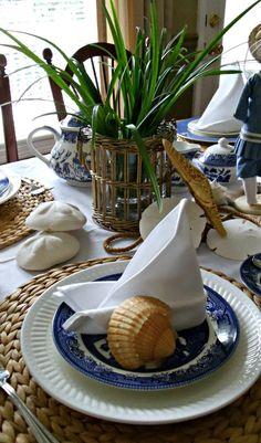 Seashell Tablescape, sailboat napkins