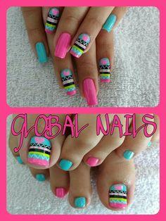 Colorful Tribal nail art♥️♥️♥️ -  #Promnails #VideosGreen Bright Nails, Neon Nails, Pink Nails, Crazy Nails, Love Nails, Pretty Nails, Fingernail Designs, Toe Nail Designs, Finger Nail Art