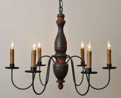 primitive lighting | ... Arm Wooden Chandelier Light Primitive Country Woodpsun Lighting | eBay