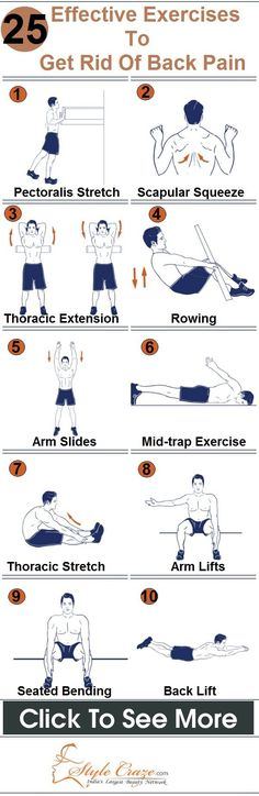 25 Effective Exercises To Get Rid Of Back Pain. Stay healthy my friends.