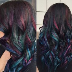 """Wow! """"oil slick"""" hair created by Nicole in #redondo . #showoffcolor #joicointensity @joico"""