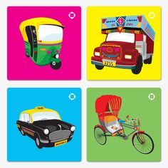 Buy Designer coasters of Indian Transport-truck-cycle-rickshaw-Auto-taxi . Each graphic has beautiful detailing, not kitchy, pop art made by established indian designers and artists. Indian Artwork, Indian Folk Art, Cars Characters, India Culture, Coaster Design, Truck Art, Artwork Images, Decoupage Paper, Work Inspiration