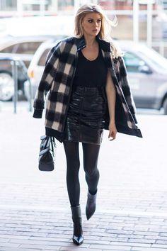 Charlotte McKinney PVC skirt