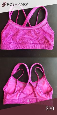 Lululemon Sports Bra Great condition. Hot pink. Super cute design. Lightly supportive. lululemon athletica Intimates & Sleepwear Bras