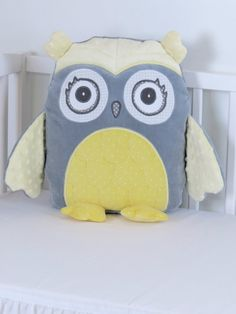 Decorative Owl Gray and Yellow Owl Pillow by Customquiltsbyeva