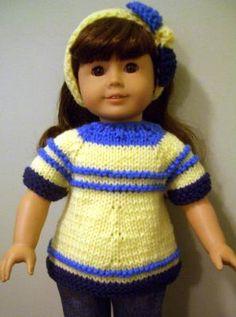 """summer dress (hand-knit) KNITTING PATTERN FOR AMERICAN GIRL 18"""" DOLL BEGINNER LEVEL"""