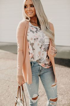 Ribbed Accent Cardigan - Apricot - Ribbed Accent Cardigan – Apricot – Mindy Mae's Market - Cute Spring Outfits, Cute Outfits, Summer Outfits For Work, Pretty Outfits, Summer Outfits Women Over 40, Casual Summer Outfits For Women, Summer Dress Outfits, Summer Fashion Outfits, Fashion Spring