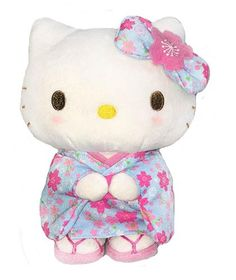 NEW Soft Stuffed Toy Sakura Blue M size Sanrio Hello Kitty Cat Animal Plush Doll | eBay