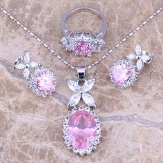 Hot Sell ! Pink White Topaz Silver Jewelry Sets Earrings Pendant Ring For Women Size 6 / 7 / 8 / 9 / 10 Free Gift Bag S0039