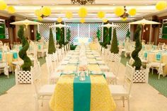 A refreshing yellow and teal color motif for a garden-inspired celebration at The Legend Villas Yellow Wedding, Summer Wedding, Dream Wedding, Wedding Things, Wedding Stuff, Wedding Photos, Party Venues, Wedding Venues, Wedding Inspiration