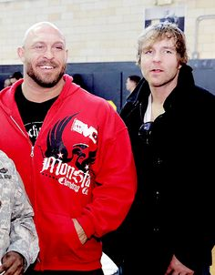 Dean and Ryback. Ambrose, Reigns, and Rollins. : Photo