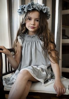 lace trim tiers, gray flower girl dress