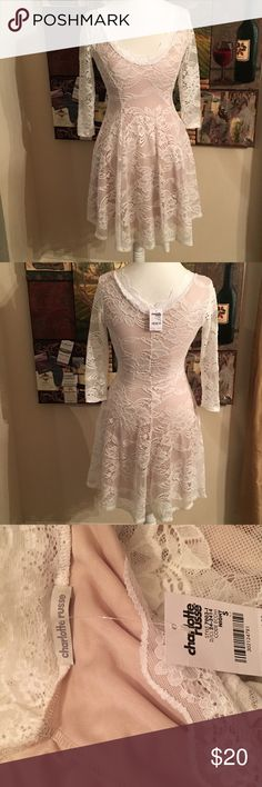 CHARLOTTE RUSSE WHITE LACE BEIGE LINED DRESS SZ S Charlotte Russe White Lace Beige Lined Dress. 3/4 Lace Sleeves. Size S NWT Charlotte Russe Dresses Midi