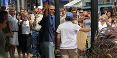 VINEYARD HAVEN - AUGUST 19: President Barack Obama leaves the Bunch of Grapes bookstore with daughters Sasha and Malia. The Obama family is vacationing on Martha's Vineyard. (Photo by Bill Greene/The Boston Globe via Getty Images) via @AOL_Lifestyle Read more: http://www.aol.com/article/news/2017/01/18/obama-refuses-to-comment-on-trump-inauguration-boycott-reveals/21657798/?a_dgi=aolshare_pinterest#fullscreen