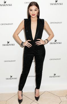 Fashion Week's Best Celebrity Photos From NYFW, Paris and Beyond - Hailee Seinfeld in a plunging black jumpsuit
