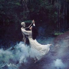 till death do us part. Couple waltzing in the woods, dancing couple.