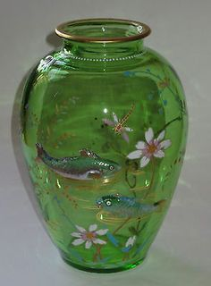 Bohemian Glass Moser Style Vase w Applied Fish and Colorful Enamels | eBay