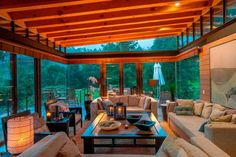 wood ceiling and glass wall design