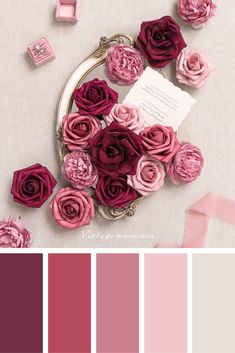 Color palettes and color inspiration for wedding. Dusty Rose Wedding Color Ideas for 2020 Color Schemes Colour Palettes, Colour Pallette, Color Palate, Color Combos, Old Rose Color Palette, Vintage Colour Palette, Purple Color Schemes, Pink Palette, Beautiful Color Combinations