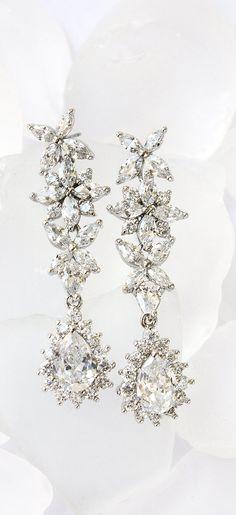 White Gold Earring, Silver Earring, Bridal Earring, Bridal Jewelry, White Gold Bridal Earring, Silver Bridal Jewelry, Silver Drop Earring, White Gold Drop Earring