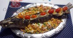 Pescada Bicuda recheada com farofa de camarões - Cozinha Simples da Deia