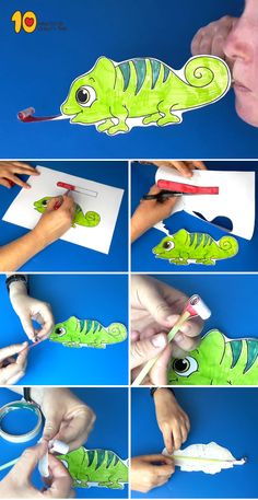 Chameleon Craft! #kidsprintables #kidsactivities #kidscrafts