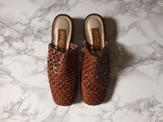 vintage woven chestnut brown leather slip on by minminvintage