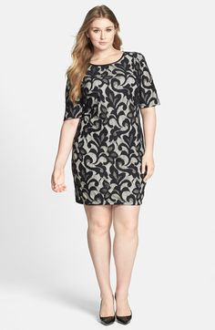 Donna Ricco Lace Overlay Sheath Dress (Plus Size) available at #Nordstrom I like this dress but it is a total ripoff of a Monica C dress from 2 holiday seasons ago
