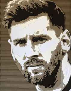 Cardboard portrait by Kevin Hartman: Messi 2 Cardboard Sculpture, Cardboard Art, Sculpture Art, Cardboard Relief, Messi Art, Face Profile Drawing, Pop Art Dibujos, Batman Silhouette, Lionel Messi