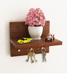 Brown Wall Shelf Cum Key Holder At Rs.156