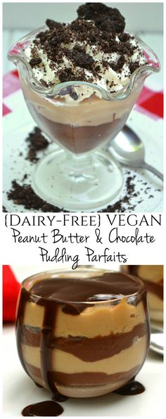 Dairy-free, Vegan Homemade Chocolate & Peanut Butter Pudding Parfait made with Silk Almond Milk & simple on hand ingredients | #PlantBasedGoodness #ad | www.craftycookingmama.com