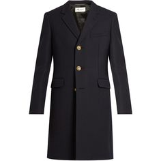 Saint Laurent Single-breasted wool and silk-blend twill coat ($2,430) found on Polyvore featuring men's fashion, men's clothing, men's outerwear, men's coats, men, yves saint laurent, navy, mens single breasted pea coat, mens wool military coat and mens navy pea coat