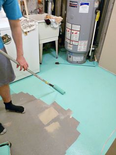 Make over drab #concrete floors with a coat of #paint.