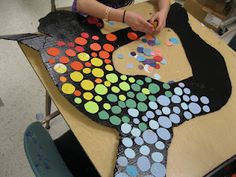 Silhouettes with colored circles...