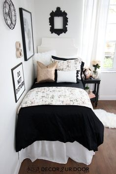 Black Rose Gold Marble Dorm Bedding Set Carrara marble dorm bedding and dorm room decor. Shop this year's hottest dorm room trends. Rustic Bedroom Design, Bedroom Decor, Master Bedroom, Dorm Bed Skirts, Dorm Bedding Sets, Girl Bedding, Barn Bedrooms, Dorm Room Designs, College Dorm Rooms