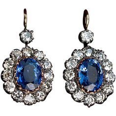 Antique Russian Sapphire Diamond Earrings (561 495 UAH) ❤ liked on Polyvore featuring jewelry, earrings, 14 karat gold earrings, antique jewellery, diamond jewelry, diamond earrings and antique sapphire earrings