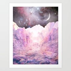 Ever single thing Danielle Noel has up on Society6 I want. I mean...look at this magnificence! Misty Mountains Art Print