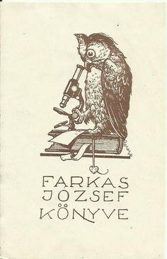 Exlibris (Hungary). Art deco microscope petry owl
