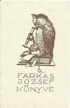 Exlibris ex libris bookplate hungary art deco microscope petry owl