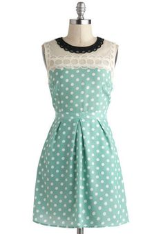 (SOPHIA'S STYLE) Mint, polka dotted, A-line, sleeveless dress with lace trim