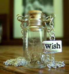 Dandelion Wishes Glass Bottle Necklace Make a Wish by KarmaBeads, $20.00