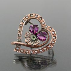 Suffragette Pansy French Brooch. Art Nouveau Floral.