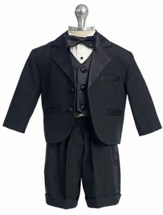 Boy s 5-Piece Black Tuxedo With Shorts at DapperLads Toddler Tuxedo 89ee0a1e5