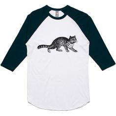 theIndie Stalking Cat (Black) 3/4-Sleeve Raglan Baseball T-Shirt