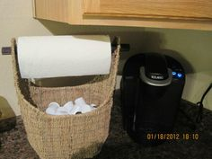 Another great usage for Thirty-One's Small Magazine Basket!!  Who has a Keurig and needs help with organization for all those K-Cups?  Here you can have two in one...paper towel holder and K-Cup holder!  ;)