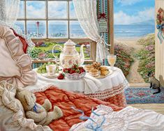 Janet Kruskamp's Paintings - Cottage by the Sea, a painting depicting the interior of a room of the seaside cottage, the open door beckoning the unoccupied room down the path to the seashore. A Siamese cat sits at the door waiting, along with her brown teddy bear on the bed, for her young mistress to return. The table next to the bed is set with fresh strawberries and grapes, along with pastries and tea. One of the Gardens and Florals Gallery of Original Oil Paintings and  original paintings…