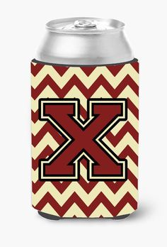 Letter X Chevron Maroon and Gold Can or Bottle Hugger CJ1061-XCC