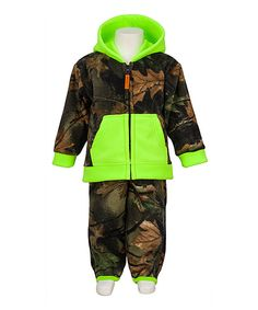 Look at this Trail Crest Neon Green Camo Zip-Up Hoodie & Pants - Infant, Toddler & Kids on #zulily today!