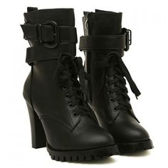 Fashion Style Chunky Heel and Buckle Design Women's Short Boots