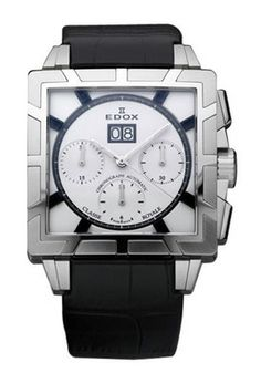 EDOX 45003 3 AINO Watches,Men's Silver Dial Black Calfskin, Men's EDOX Automatic Watches